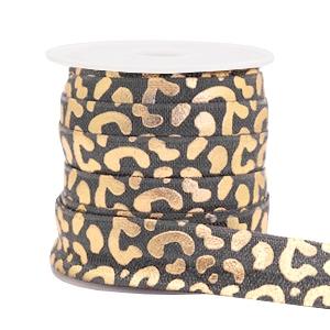 Elastisch Ibiza lint 15mm leopard grijs goud