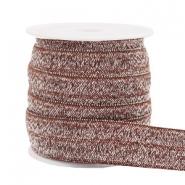 Elastisch ibiza lint 15mm glitter taupe