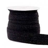 Elastisch ibiza lint 15mm glitter zwart