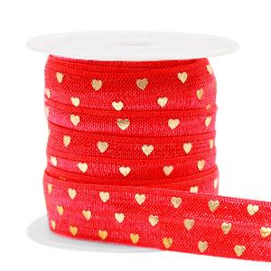 Elastisch Ibiza lint 15mm hearts red gold