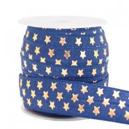 Elastisch lint 15mm sterren dark blue