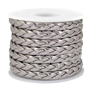 Gevlochten imitatie leer metallic steel grey