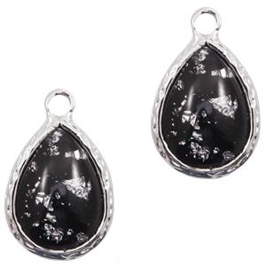 Hanger crystal glas druppel black silver flakes