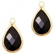 Hanger crystal glas druppel jet black goud