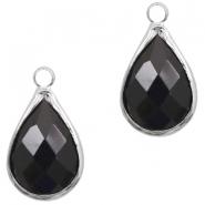Hanger crystal glas druppel jet black zilver