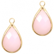 Hanger crystal glas druppel light pink opal gold