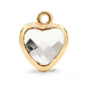 Hanger crystal glas hart crystal goud
