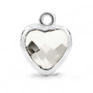 Hanger crystal glas hart crystal zilver