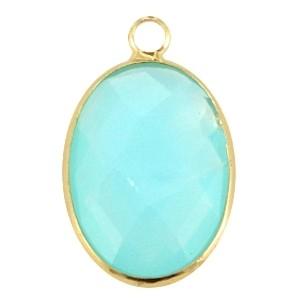 Hanger crystal glas ovaal aqua goud