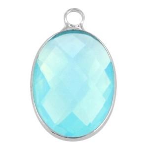 Hanger crystal glas ovaal aqua zilver