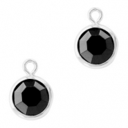 Hanger crystal glas rond jet black zilver
