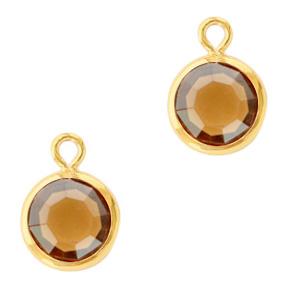 Hanger crystal glas rond topaz goud