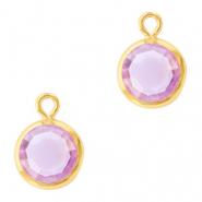 Hanger crystal glas rond violet purple goud