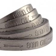 Imitatie leer 10mm boho chic metallic zilver