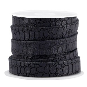 Imitatie leer croco 10mm black grey