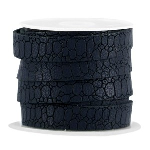 Imitatie leer croco 10mm midnight blue