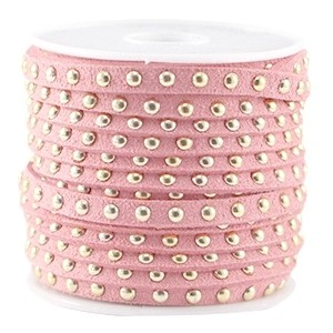 Imitatie suède studs bright strawberry ice pink goud