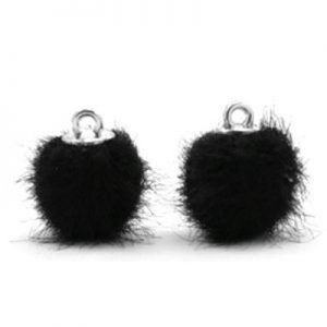 Pompom bedel faux fur black silver