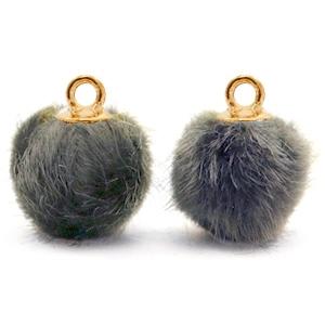 Pompom bedel faux fur dark grey gold