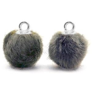 Pompom bedel faux fur dark grey silver