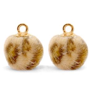 Pompom bedel faux fur leopard camel brown gold