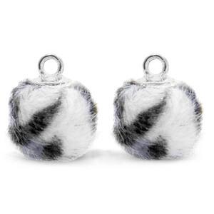 Pompom bedel faux fur leopard grey silver