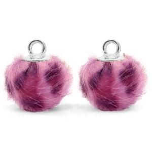 Pompom bedel faux fur leopard purple pink