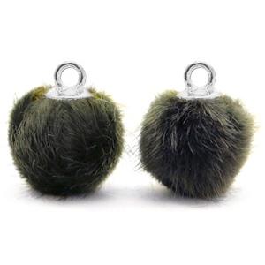 Pompom bedel faux fur olive grey silver