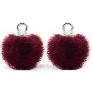 Pompom bedel faux fur port purple red silver