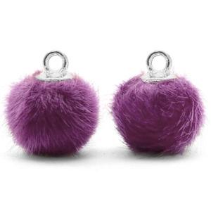 Pompom bedel faux fur purple silver