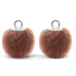 Pompom bedel faux fur red brown silver