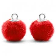 Pompom bedel faux fur red silver