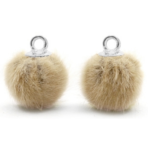 Pompom bedel faux fur taupe brown silver