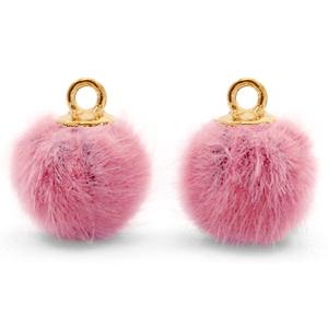 Pompom bedel faux fur vintage dark pink gold