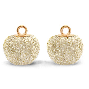 Pompom bedel glitter 12mm almond white gold
