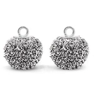 Pompom bedel glitter 12mm black silver silver