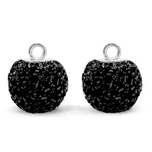 Pompom bedel glitter 12mm black silver