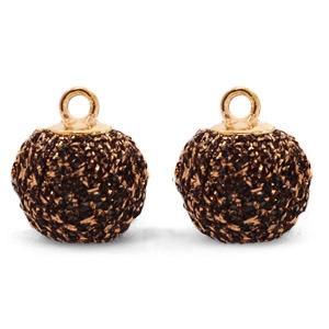 Pompom bedel glitter 12mm bronze-gold