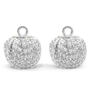 Pompom bedel glitter 12mm crystal silver