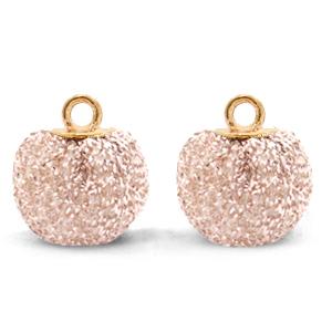 Pompom bedel glitter 12mm silver-pink gold