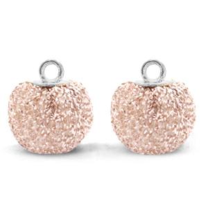 Pompom bedel glitter 12mm silver-pink silver