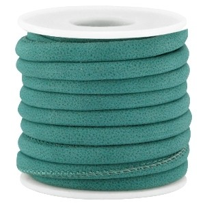 Rond imitatie leer 5x4mm teal green