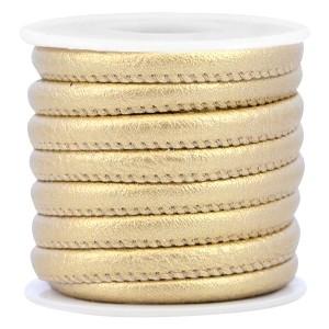 Rond imitatie leer 6x4mm champagne metallic gold