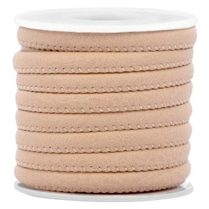 Rond imitatie leer 6x4mm cream light brown