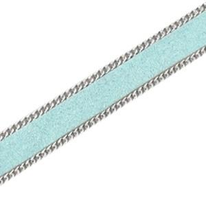 Suède met schakelketting blauw-zilver
