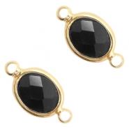 Tussenstuk crystal glas ovaal black opaque goud