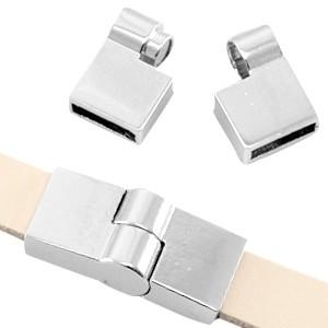 DQ magneetsluiting voor 10mm leer of koord zilver