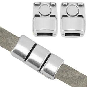 DQ magneetsluiting voor 5mm plat leer zilver