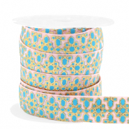 Elastisch Ibiza lint 15mm flower turquoise pink blue gold