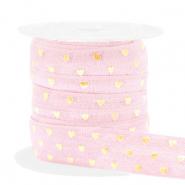 Elastisch Ibiza lint 15mm hearts light pink gold